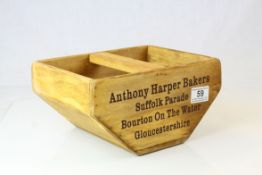 Wooden Trug marked to sides ' Anthony Harper Bakers, Bourton on the Water ', 25cms long