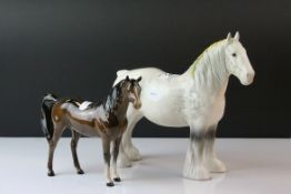 Beswick Grey Shire Mare, model no. 818 together with a Beswick Brown Arab ' Xayal ' Horse, model no.