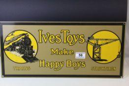 Enamel Sign ' Ives Toys make Happy Boys '