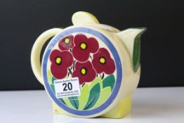 Moorland Chelsea Works Art Deco Style Teapot decorated with flowers, 15cms high