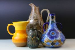 Four Jugs / Vases including Amphora Vase, 12cms high, Shelley Orange Ribbed Jug, Stoneware Jug,