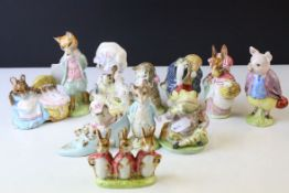 Eleven Beswick Beatrix Potter's Figures including Miss Moppet, Hunca Munca, Flopsy, Mopsy and