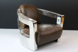 Miniature Retro Style Steel and Brown Leather Open Armchair, 20cms high