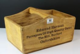 Wooden Trug marked to the sides ' Edmund Harman, Purveyoys of High Quality Game, Burford ', 34cms