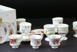 Set of Twelve Royal Albert ' Flowers of the Month ' Egg Cups together with Twelve Royal Albert '