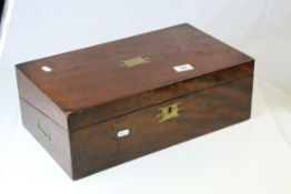 19th century Mahogany Writing Slope Box with recessed brass handles, the interior including a 19th