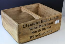 Wooden Trug marked to sides ' Clement Barksdale Wine Merchant, Winchcombe ' 35cms long