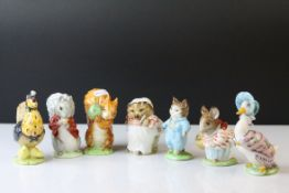 Seven Beswick Beatrix Potter's Figures including Timmy Tiptoes, Sally Henny Penny, Tom Kitten, Mrs
