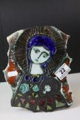 Wye Studio Pottery Wall Plaque depicting the Madonna with Child, probably by Adam Dworski but just
