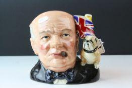 Royal Doulton Character Jug of the Year ' Winston Churchill ' Large Character Jug, D6907, 18cms high