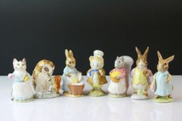 Seven Beswick Beatrix Potter's Figures including Tabitha Twitchett, Cecily Parsley, Good Tiptoes,