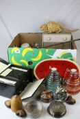 Collection of Mixed Items including Glass Storm Jars, Herb Flower Pots, Wooden Dishes painted as