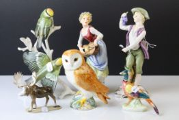 Collection of Six Ceramic Figures including Karl Ens Model of Two Birds on a Branch, Beswick