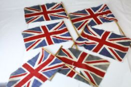 Six Mid 20th century Fabric Union Jack Flags on Poles, marked British Made, 29cms x 17cms