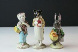 Three Beswick Beatrix Potter's Figures ' Pickles ', ' Susan ' and ' Little Black Rabbit '