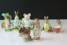 Eight Beswick Beatrix Potter's Figures including Timmy Willie, Samuel Whiskers, Appley Dappley,