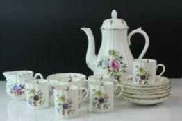 Royal Worcester ' Roanoke ' Coffee Set comprising Coffee Pot, Sugar, Cream Jug, Six Coffee Cans