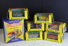 Six boxed Lone Star OOO Gauge Gulliver County Town & Country Planning rubber buildings to include