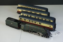 Hornby OO gauge Mallard locomotive in BR green plus a set of 4 x Hornby coaches in maroon / cream