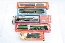 Five OO gauge locomotives with damaged or incorrect boxes to include Hornby Albert Hall, Evening