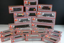 21 Boxed Lima OO gauge items of rolling stock to include wagons, trucks and coaches