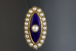 Edwardian pearl and enamelled unmarked yellow gold lace pin, the central blue enamelled marquise