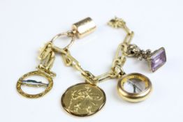 14ct yellow gold textured belcher link style bracelet with padlock clasp, enamelled 14ct yellow gold