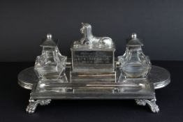 Victorian silver double ink and pen desk stand, the central compartment with cast Sphinx surmount
