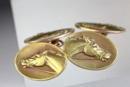 Pair of 14k rose gold chain link cufflinks, the oval panels each depicting a horse's head in relief,