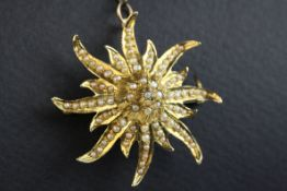 Seed pearl 14ct gold tiered sunburst pendant brooch, full set with seed pearls, later safety