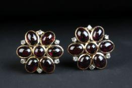 Garnet and diamond yellow gold flower head earrings (Arabic markings) central round cabochon cut