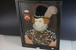 20th century Oil Painting on Board of an Elizabethan Woman, 58cms x 42cms, framed