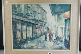 A 20th century impressionist oil painting street scene with figures 40 x 50 cm.