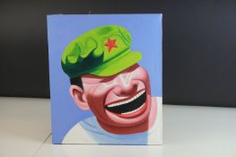 Contemporary Oil Painting on Canvas of a Laughing Chinese Man, 35.5cms x 30cms, unframed