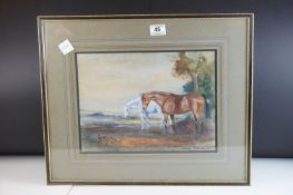 Denis Aldridge (British, 1898 - 1985), Watercolour of Two Horses and a Fox in Fields, signed and