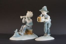 Metzier & Ortoff, Germany, Boy and Bird Figures in the Nao / Lladro colours