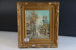20th century Oil Painting on Board, Impressionist Paris Scene, signed L Alexis, 24cms x 20cms,