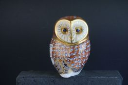 Royal Crown Derby Owl Paperweight with silver stopper, 12cms high