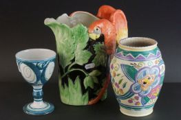 Mid 20th century Vase, probably Poole Pottery but unmarked, 18cms high together with Aldermaston