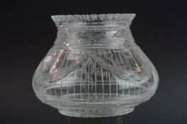 Webb glass vase, the squat ovoid body engraved with ribbons