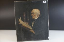 Antique oil on canvas portrait of an elderly man believed to be Prime Minister Gladstone.