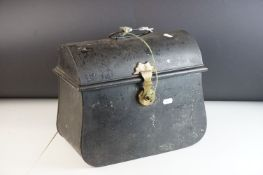 Victorian Black Metal Cash / Strong Box, the brass clasp and lock stamped with registration lozenge,