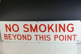 Enamel Sign ' No Smoking beyond this point ', World War II Era, originally from Chatham Royal Navy