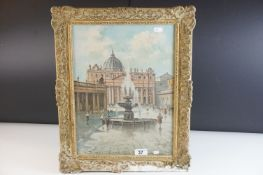 A gilt framed 20th century oil on board figures by a fountain 39 x 29 cm indistinctly signed.