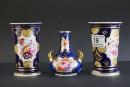 Pair of 19th century Swansea Style Spill Vases, cobalt blue ground with gilt highlights and hand