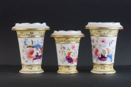 Set of Three 19th century Porcelain Spill Vases, with shaped rims and trumpet shaped bodies, hand-
