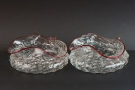 Pair of Victorian spirally moulded bowls, with red glass rims