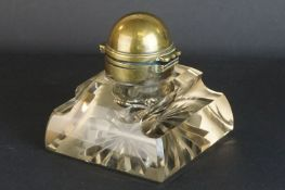 Victorian Brass Mounted Square Glass Inkwell, the hinged inner collar stamped ' Betjemanns Patent