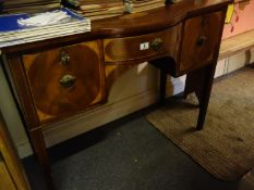 Regency period mahogany bow fronted sideboard with shell motif inlay to the top comprising 2 doors
