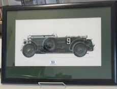 Framed and glazed watercolour of a British Vintage Racing Car probably a Bentley signed Martin